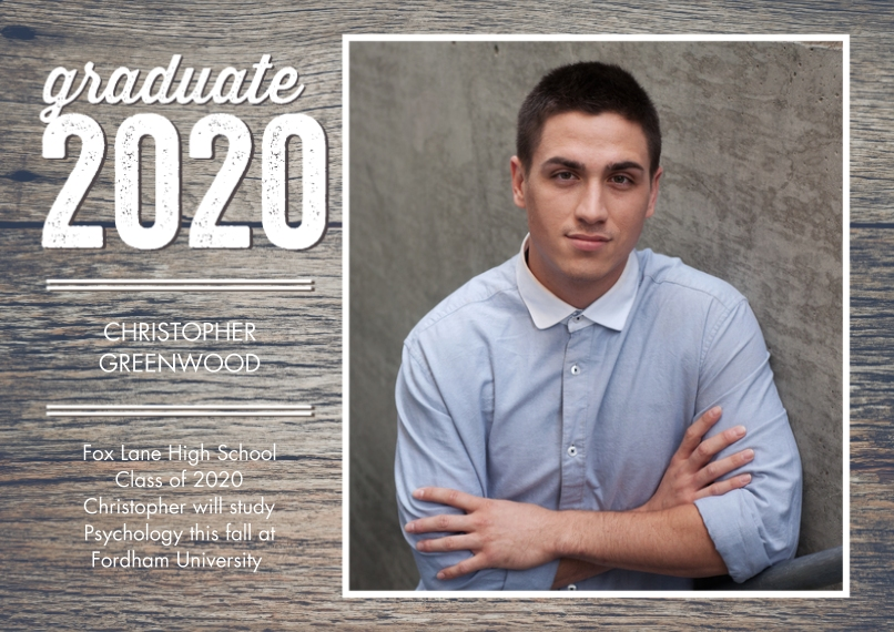 2020 Graduation Announcements 5x7 Cards, Premium Cardstock 120lb, Card & Stationery -Graduate 2020 Modern by Tumbalina