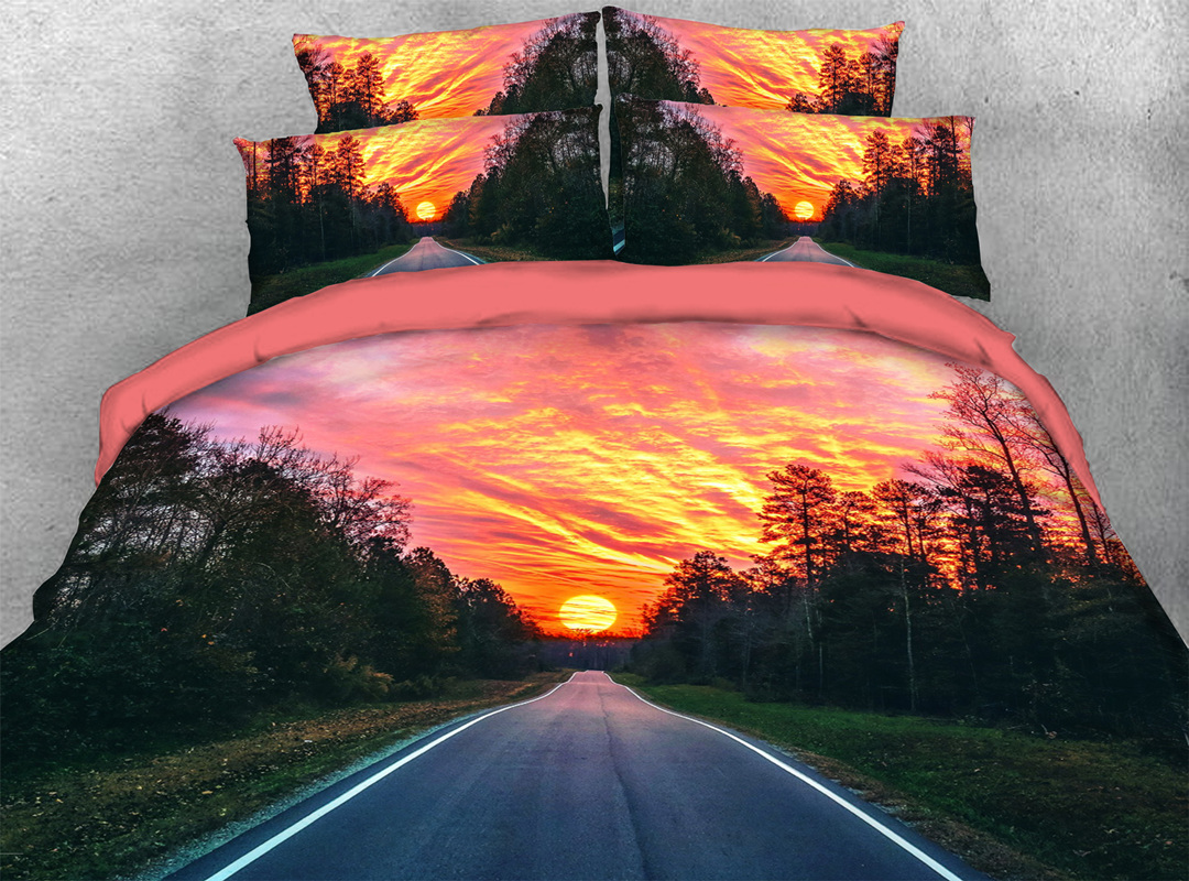 3D Highway in the Sunset 4-piece No-fading Soft Bedding Sets Durable Scenery Zipper Duvet Cover with Non-slip Ties
