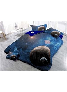 Planets and Galaxy Wear-resistant Breathable High Quality 60s Cotton 4-Piece 3D Bedding Sets