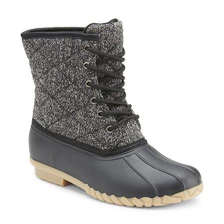 Olivia Miller Womens Duck Boots Flat Heel, 6 1/2 Medium, Black