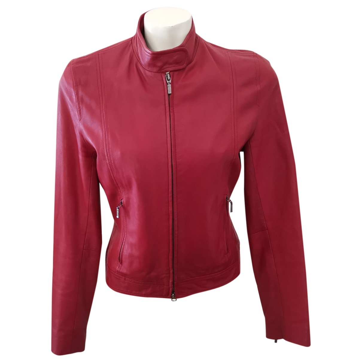 Non Signé / Unsigned \N Burgundy Leather Leather jacket for Women S International
