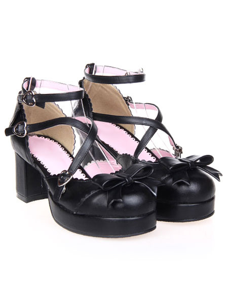 Milanoo Sweet Black Round Toe PU Leather Street Wear Lolita Shoes