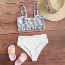 Girls Striped Knot Front High Waisted Bikini Swimsuit