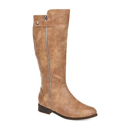 Journee Collection Womens Kasim Wide Calf Stacked Heel Zip Riding Boots, 10 Medium, Brown