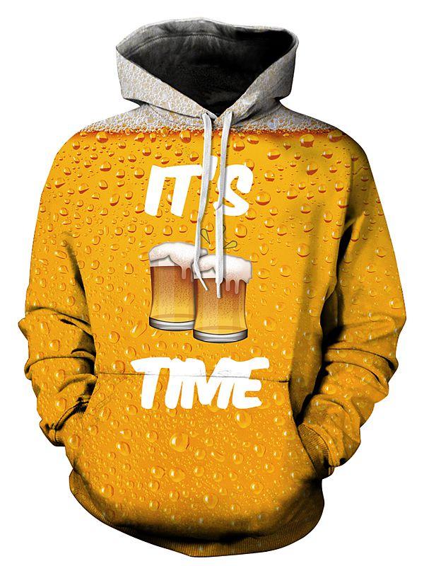 Long Sleeve Beer Pattern 3D Painted Hoodie
