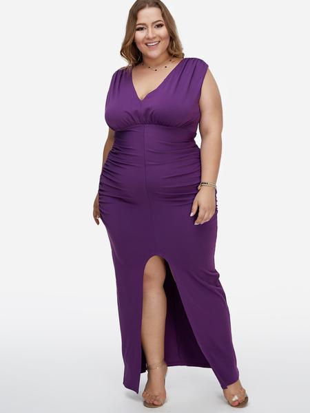 Yoins Plus Size Purple Pleated Design Deep V-neck Maxi Party Dresses