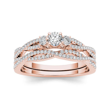 1/2 CT. T.W. Diamond 14K Rose Gold Crossover Bridal Ring Set, 7 , No Color Family