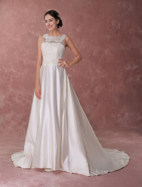 Milanoo Wedding Dress Satin A Line Lace Applique Bow Ivory Bridal Gowns With Train