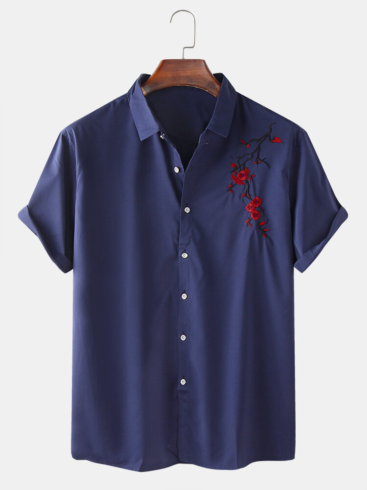 Mens Oriental Plum Blossom Embroidered Casual Short Sleeve Shirt