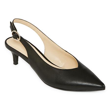 Liz Claiborne Womens Quebec Buckle Pointed Toe Kitten Heel Pumps, 8 1/2 Medium, Black