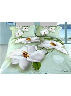 3D White Anise Magnolia Printed Cotton 4-Piece Bedding Sets/Duvet Covers