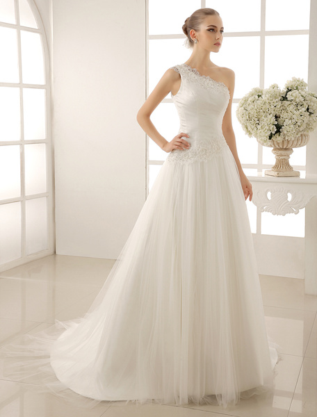 Milanoo One-Shoulder Wedding Dress With Sequined Tulle
