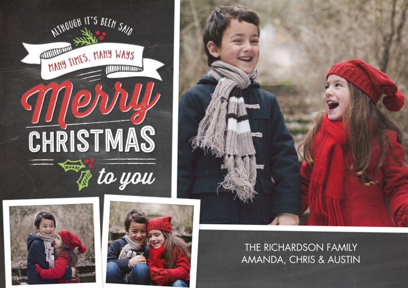 Christmas Photo Cards 5x7 Cards, Premium Cardstock 120lb with Rounded Corners, Card & Stationery -Christmas Festive Banner Collage