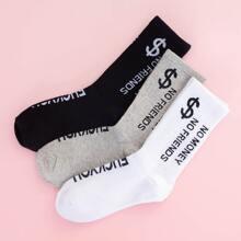 3pairs Dollar Pattern Socks