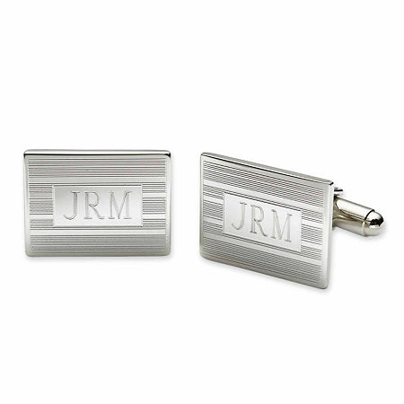 Personalized Rectangular Cuff Links, One Size , White