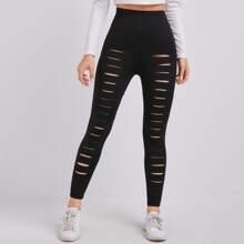 Cut Out Elastic Waist Leggings