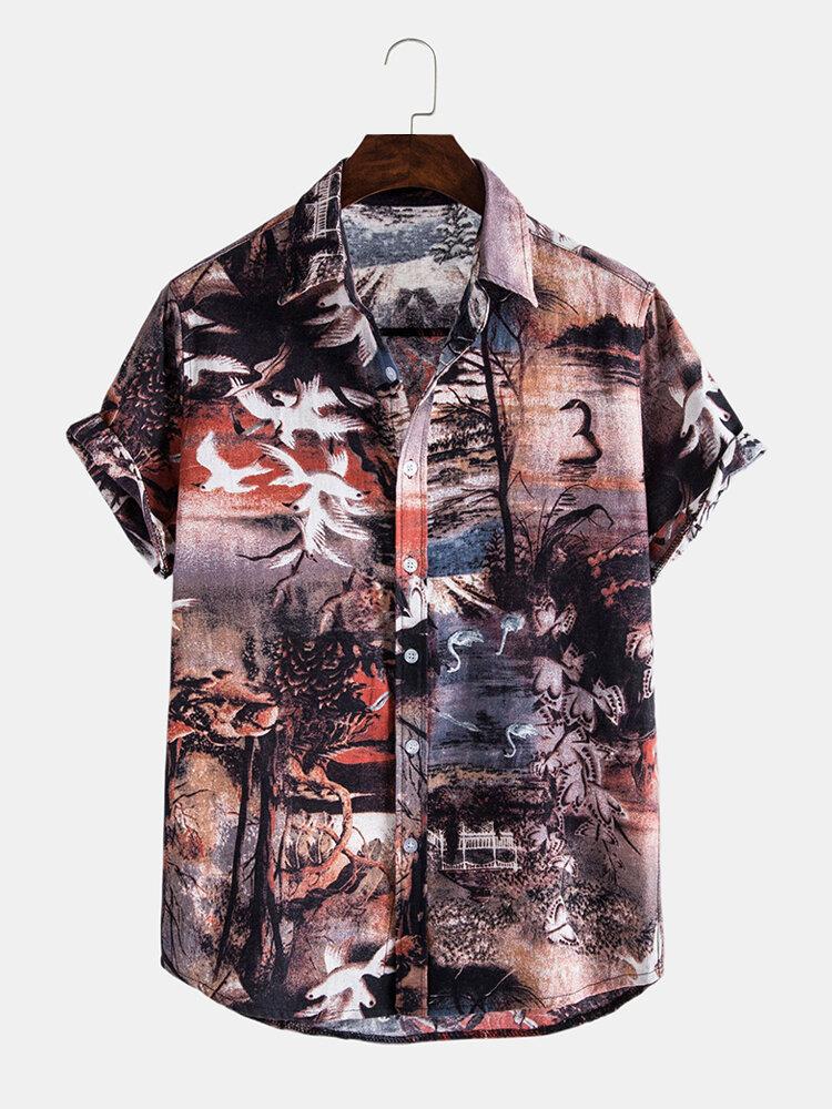 Men Cotton Vintage Landscape Print Casual Shirt
