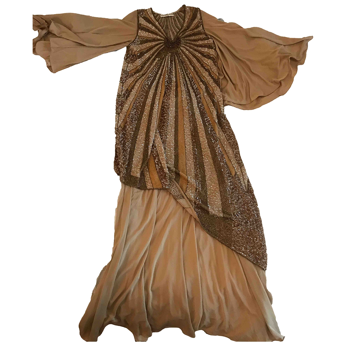 Non Signé / Unsigned Hippie Chic Camel dress for Women 42 IT