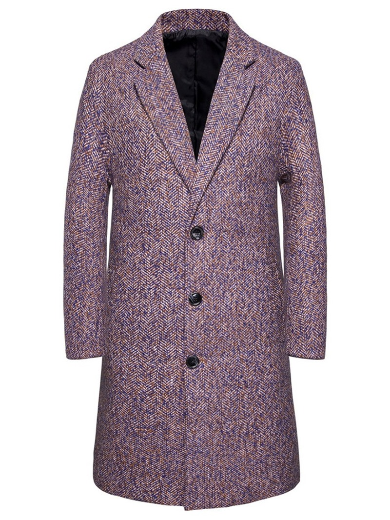 Ericdress Long Plain Notched Lapel Men's Slim Coat