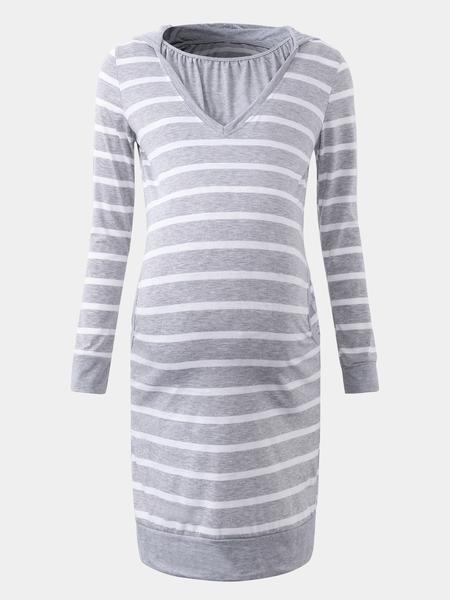 Yoins Stripe Pattern Stitching Hooded Design Dress in Grey