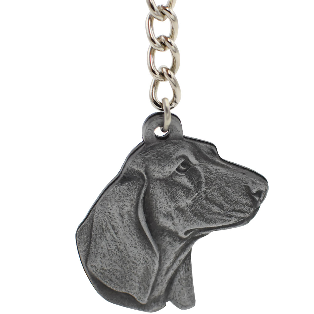 Dog Breed Keychain USA Pewter - Basset Hound (2.5