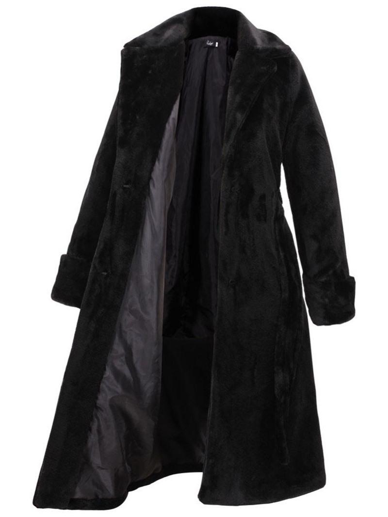 Ericdress Lapel Regular Plain Faux Leather Thick Faux Fur Overcoat
