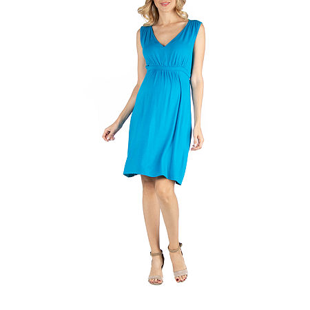 24/7 Comfort Apparel Sleeveless V-Neck Empire Cocktail Dress, 3x , Blue