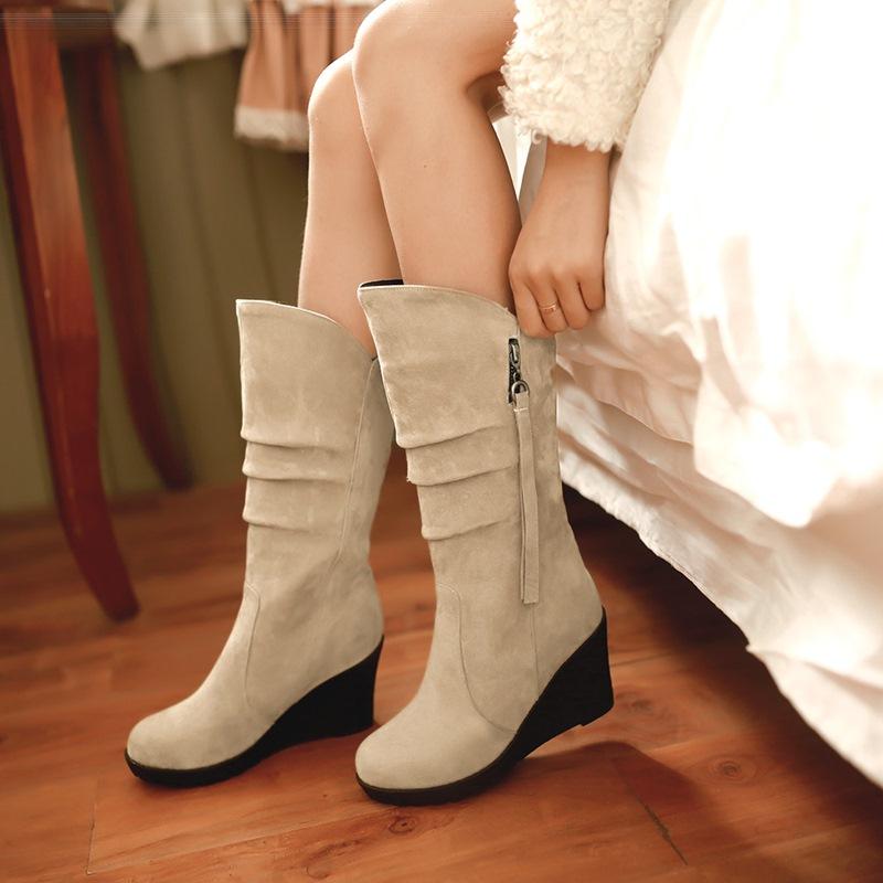 Ericdress Round Toe Plain Wedge Heel Women's Boots