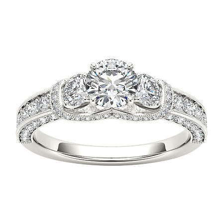 Womens 1 1/5 CT. T.W. Genuine White Diamond 14K Gold 3-Stone Engagement Ring, 9 , No Color Family