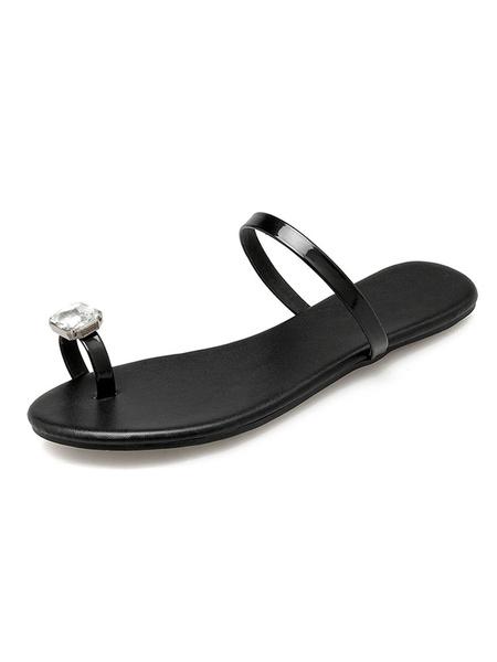 Milanoo Red Flip Flops Women Flat Sandals Rhinestones Backless Sandal Shoes