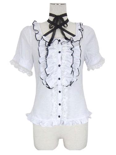 Milanoo Sweet Lolita Blouses White Short Sleeve Frill Bosom Ruffles Lolita Shirts