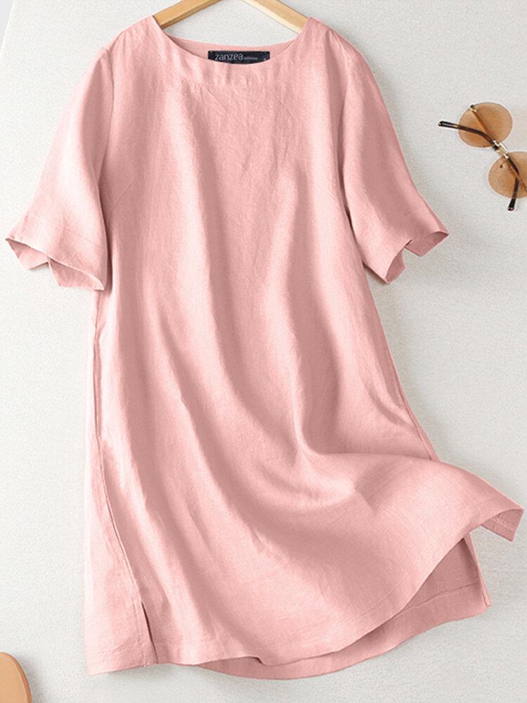 Casual Split Solid Color Plus Size Long Blouse