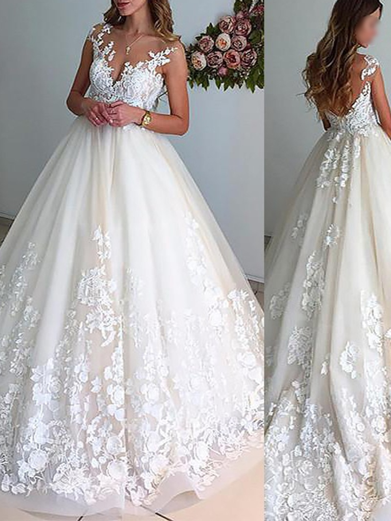 Ericdress Cap Sleeves Appliques Bridal Gown