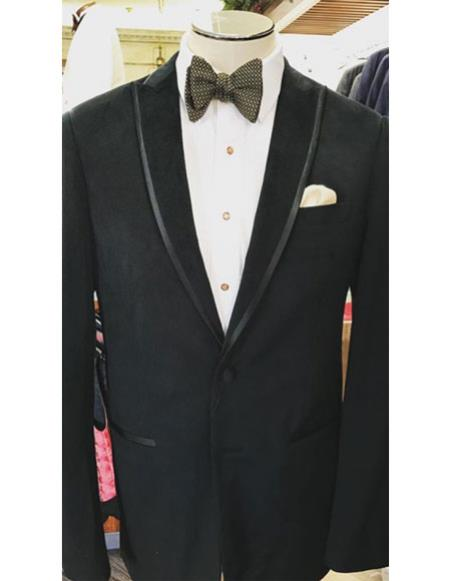Mens black Single Breasted tuxedo Trimmed peak Lapel suit