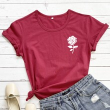 Rose Print Short Sleeve Tee