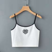 Heart Graphic Crop Ringer Cami