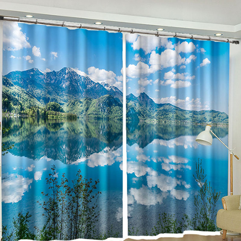 3D Scenery Window Curtains 260g/㎡ Shading Cloth 100% Blackout Ultraviolet-Proof Environmentally-Friendly Printing Heat Insulation No Pilling No Fading