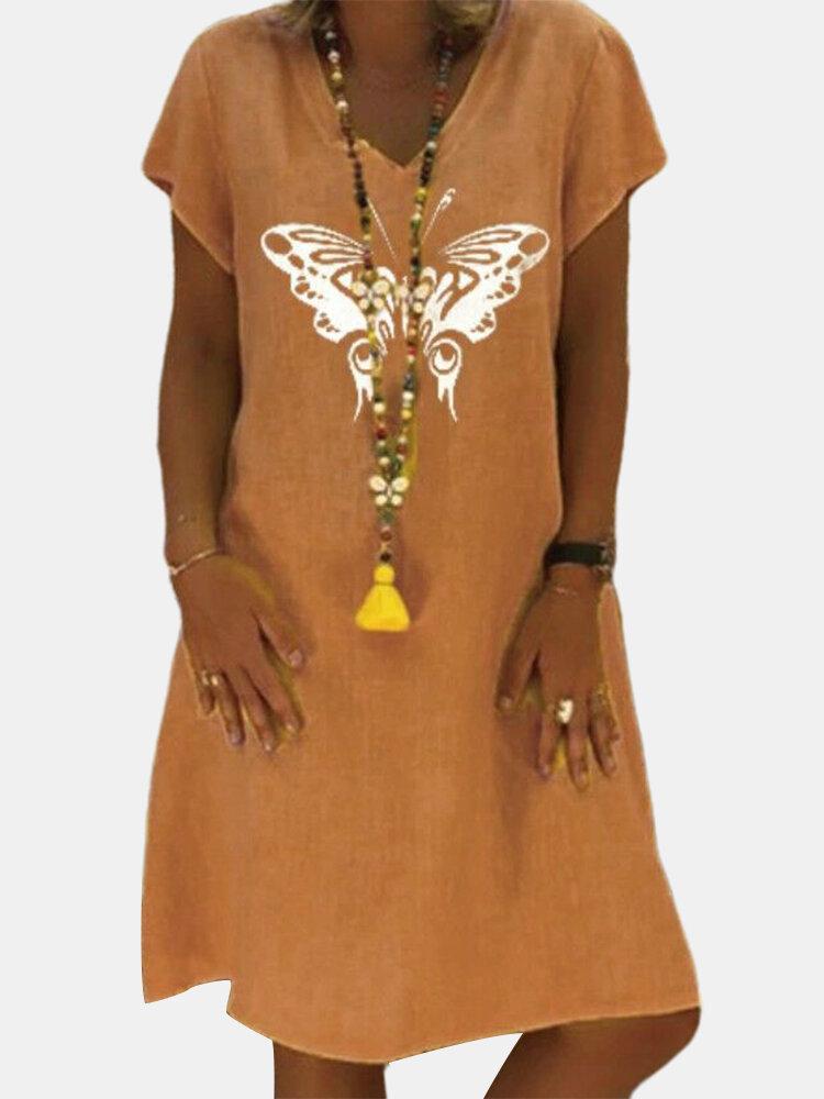 Short Sleeve Butterfly Print V-neck Casual Dress For Women