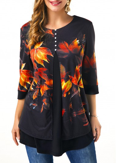 Women'S Black Half Sleeve Printed T Shirt Leaf Print Button Front Tunic Casual Top By Rosewe - XL