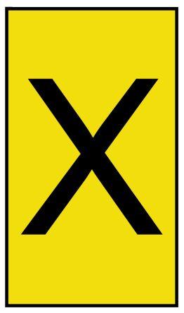 HellermannTyton Ovalgrip Slide On Cable Marker, Pre-printed X Black on Yellow 2.5 → 6mm Dia. Range