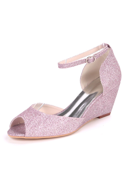 Milanoo Glitter Wedding Shoes White Sequins Peep Toe Wedge Heel Bridal Shoes