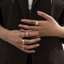 9pcs Star & Coin Ring