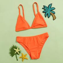 Girls Triangle Top With Panty Bikini Set