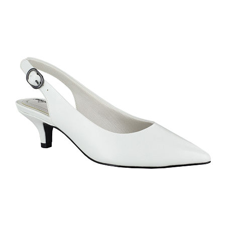 Easy Street Womens Faye Pumps Kitten Heel, 6 Medium, White