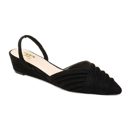 Journee Collection Womens Kato Pumps Slip-on Pointed Toe Wedge Heel, 8 1/2 Medium, Black