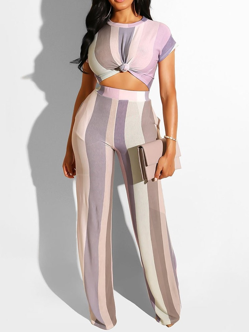 Ericdress Print Stripe Office Lady T-Shirt And Pants Two Piece Sets
