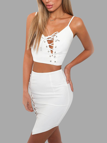 Yoins White Spaghetti Lace-up Design Vest & Mini Skirt Two Piece Outfits