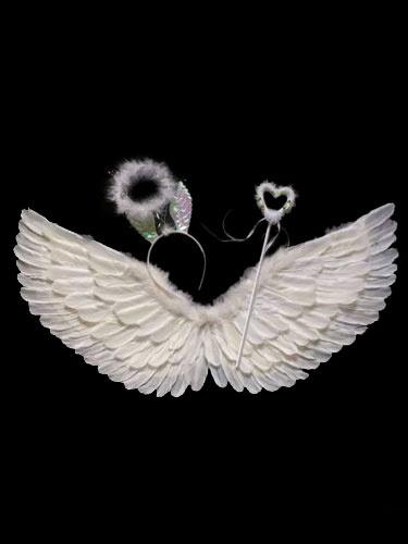 Milanoo Halloween Angel Costume Kids Accessories White Wings Halo Headband Fairy Wand