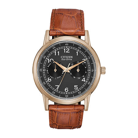 Citizen Corso Mens Brown Leather Strap Watch-Ao9003-08e, One Size , Brown