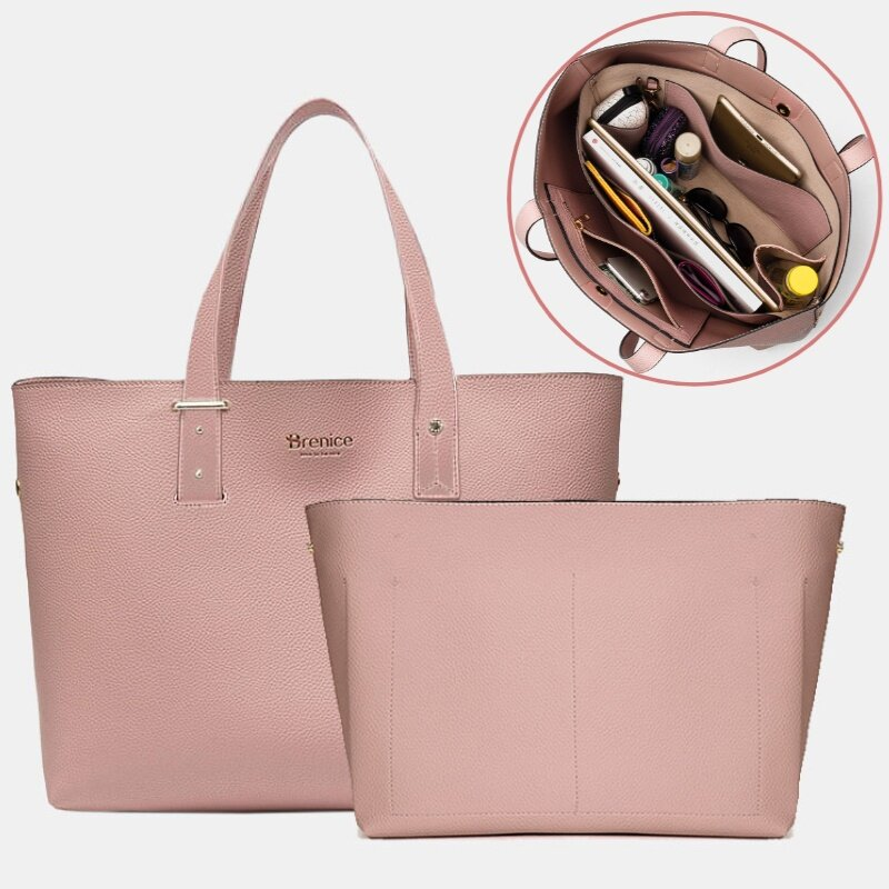 Women 2 PCS 15.6 Inch Laptop Large Capacity Multi-pocket Removable Key Multifunctional Shoulder Bag Handbag Tote